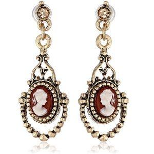 1928 Brass and Carnelian Cameo Drop Earrings